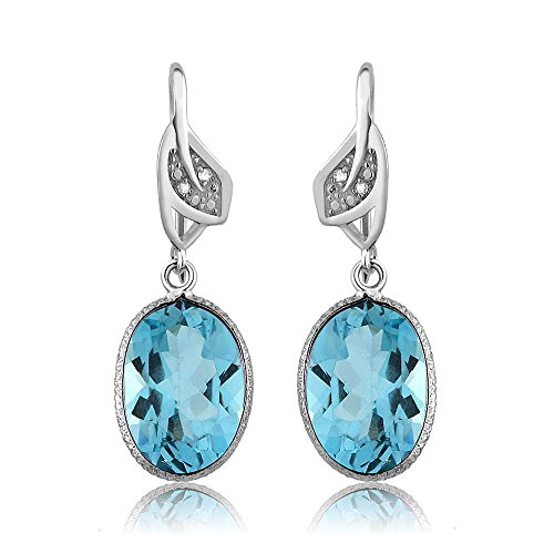 Diamond Blue Topaz Ring Earrings (14.00 Ctw Blue Topaz & White Diamond Oval Shape 925 Sterling Silver Women's Dangle Earrings)