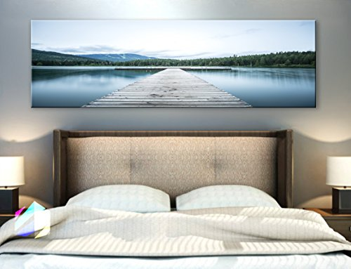 Original by BoxColors Single panel 3 Size Options Art Canvas Print Dock Relax lake landscape mountains nature panoramic reflection river rocky scenic valley water Wall Home decor (framed 1.5