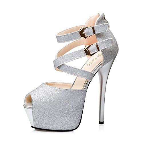 ns Peep-Toe Platform High Heel Cross Ankle-Strap Sandals-(Silver-36/5.5 B(M) US Women-Womens) ()