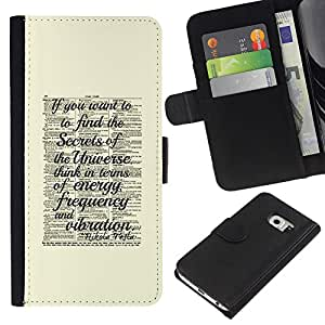 Stuss Case / Funda Carcasa PU de Cuero - Ciencia Vintage Amarillo - Samsung Galaxy S6 EDGE