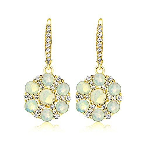 Yellow Gold Flashed Sterling Silver Ethiopian Opal and White Topaz Flower Dangle Leverback Earrings
