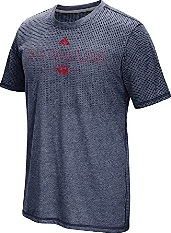 MLS Fc Dallas Men's Club Authentic 16 Climacool Short Sleeve Tee, Large, Heathered Navy - Fc Club