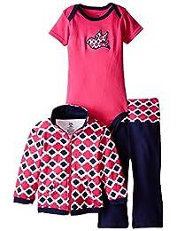 Yoga Sprout baby-girls 3 Piece Lotus Track Jacket Bodysuit Pant Set