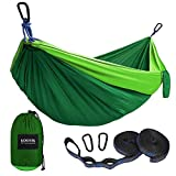 Automotive : Kootek Camping Hammock Portable Indoor Outdoor Tree Hammock with 2 Hanging Straps, Lightweight Nylon Parachute Hammocks for Backpacking, Travel, Beach, Backyard, Hiking (Green/Blackish Green, L)