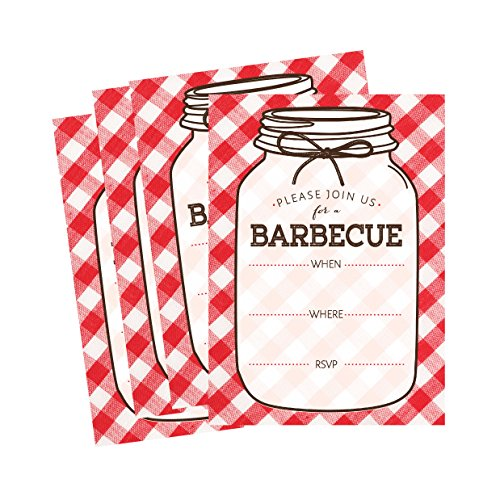50 Mason Jar Summer BBQ Party Invitations for Children, Kids, Teens & Adults, I Do Barbecue Invitation Cards, Red and White Summertime Pool Family Reunion Invite, Neighborhood Picnic Cookout Invites (Picnic Invitations)