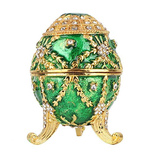 - Wal front Jewelry Organizer Egg Collectible Enameled Easter Egg Vintage European Style Diamond Hand-Painted Alloy Box Decoration