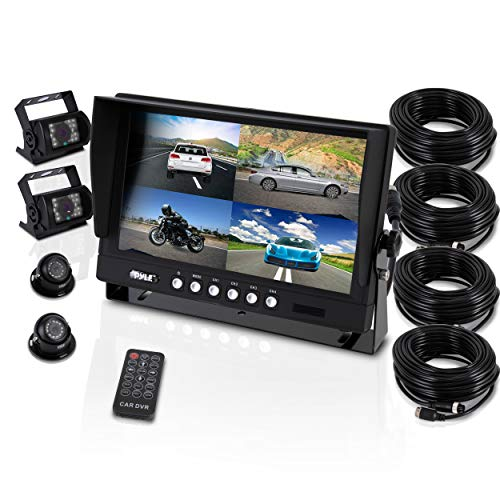 """Pyle Mobile Video Surveillance System – Weatherproof Rearview, Backup and Dash Cam with HD 4 IR LED Night Vision Cameras and 7"""" Monitor for Trucks, Trailers, Vans, Buses and Vehicles – PLCMTR74"""