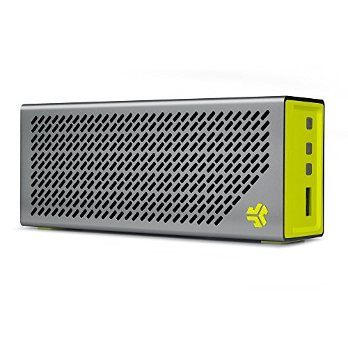 JLAB Crasher-SLVYLW-Box Audio Crasher Loud Portable Bluetooth Stereo Speaker with 18 Hour Battery - Sport Yellow/Gray