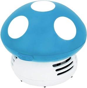 Small Vacuum Cleaner Creative Desktop Vacuum Cleaner Cartoon Mushroom Mini Keyboard Dust Collector (Blue)