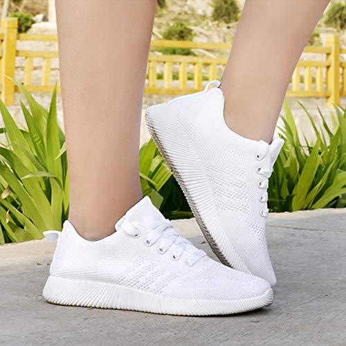 Blanco Gym Deportivas Zapatos Respirable Mujer Running QinMM para Zapatillas Cordones con Deportes awOnPPRq