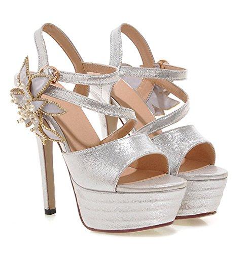 YE Damen Peep Toe 14 cm Heels High Heel Plateau Stiletto Knoechelriemchen Lackleder Blumen Strass Pumps Elegante Sommer Sandalen Schuhe mit Perlen Silber