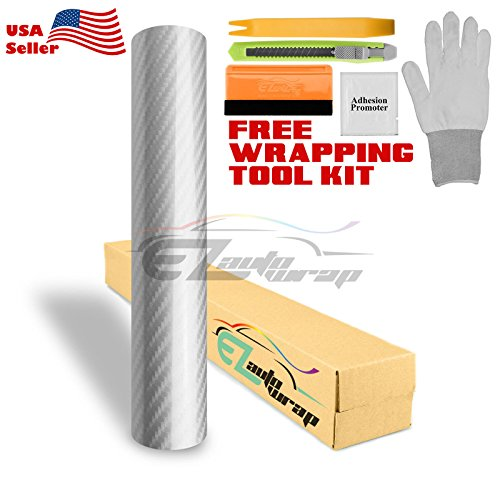(EZAUTOWRAP Silver 5D Carbon Fiber High Gloss Car Vinyl Wrap Sticker Decal Film Sheet Bubble Free Air Release Technology - 60