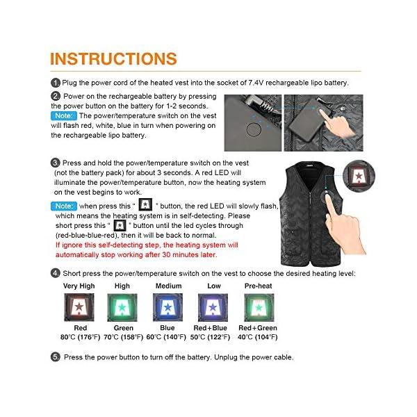 ARRIS Heated Vest Size Adjustable 7.4V Battery Electric Warm Vest for Hiking Cam