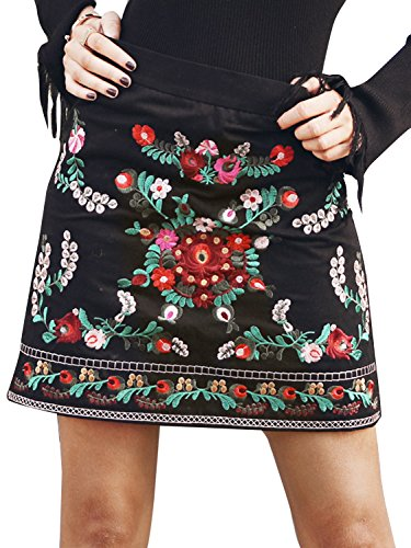 (Missy Chilli Women's High Waisted Embroidered A Line Bodycon Short Mini Skirt (Black,0/2))
