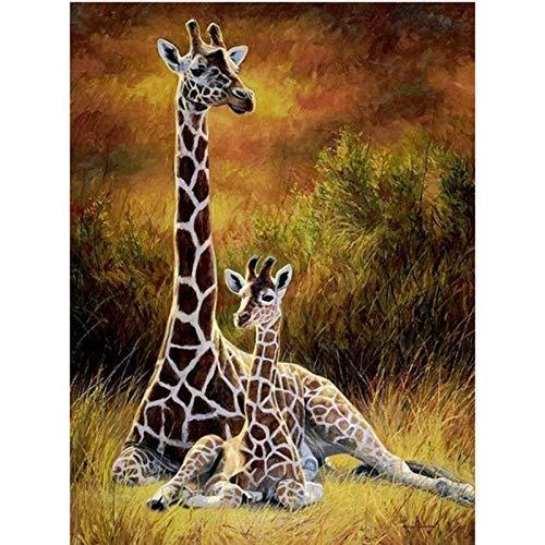 (zhui star DIY Round Diamond Painting Kits for Adults Full Drill Cross Stitch Giraffe Grass Home Decoration 30x20CM)