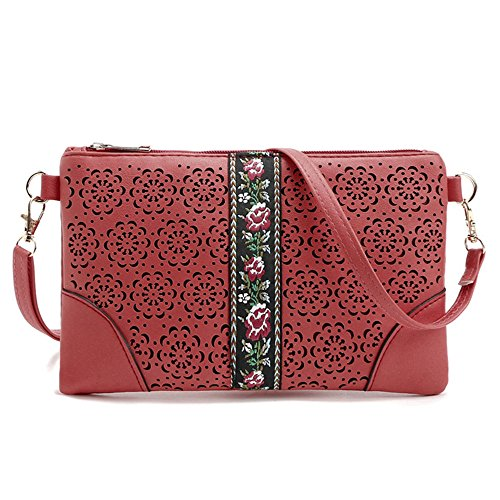 Purse Small Leather Bag Crossover Women Crossbody DukeTea Phone Girls Teen for Red tOFgwnqdn