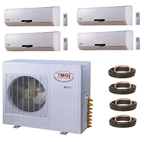 YMGI Quad Zone Air Conditioner 3 Ton 21 SEER - 36000 BTU (9+9+9+9) Ductless Mini Split Air Conditioner with Heat Pump for Home, Office, Apartment with 25 Ft Installation Lineset