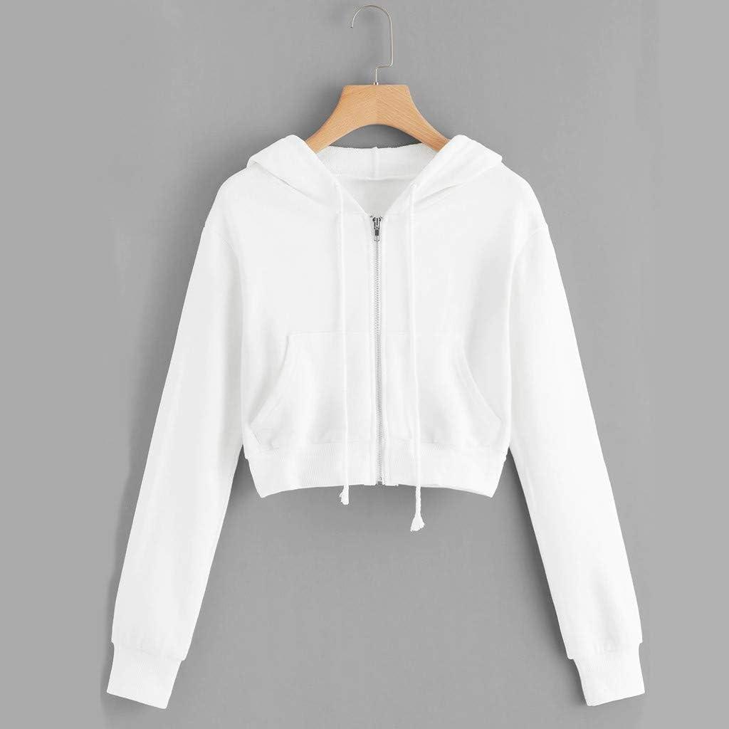 Oasisocean Womens Casual Zip-up Hoodie Basic Long Sleeve Hoodie Crop Top Drawstrings Pullover Sweatshirts Jumper Coat