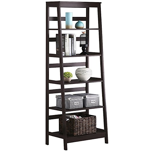 New 5-Tier Bookshelf Leaning Wall Shelf Ladder Storage Display Bookcase Furniture (Yew Wood Furniture)