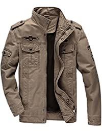 Men's Cotton Stand Collar Military Windbreaker Jacket Outdoor Casual Coat