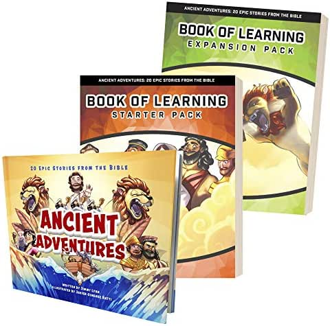 Ancient Adventures: 20 Epic Bible Stories + Book of Learning Starter Pack & Expansion Pack - Child's Beginner Bible & Workbook with Lessons on Reading, Writing & Grammar Skills