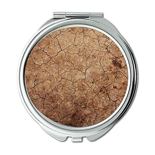 Yanteng Mirror,Earth Theme Mirror,Arid Background Climate Desert Dirt Drought Dry Makeup Mirrors,Pocket Mirror,Portable Mirror -