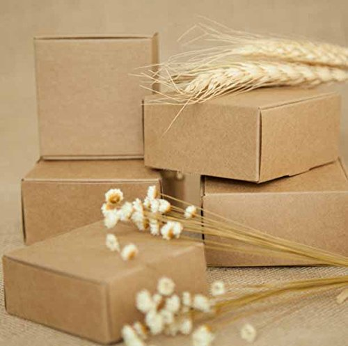 Xiaogongju DIY Kraft Paper Box Gift Box for Wedding Favors Birthday Party Candy Cookies Christmas Party Gift Ideas Box 65x65x30mm ()