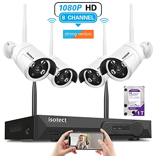 [Newest Strong Version]Wireless Security Camera System, Isotect Full HD 8CH 1080P WiFi NVR with 4pcs 1080P Indoor Outdoor Wireless Video IP Cameras, Remote Playback, 65ft Night Vision, 1TB Hard Drive