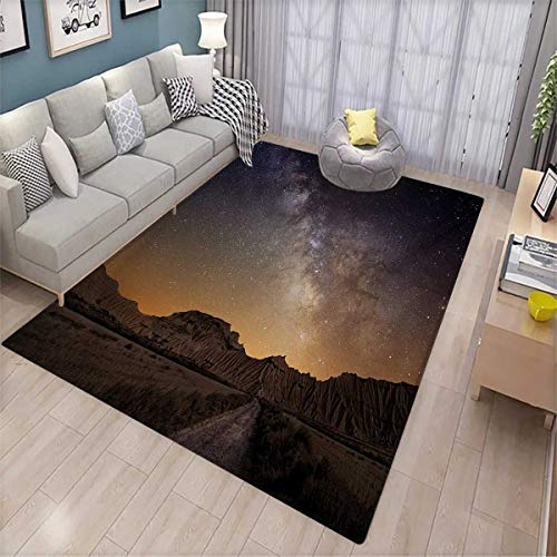 Night Extra Large Area Rug Milky Way Over Desert of Bardenas Spain Ethereal View Hills Arid Country Bath Mat for tub 6'6
