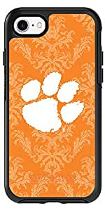 Clemson - Damask design on Black OtterBox Symmetry Case for iPhone 8