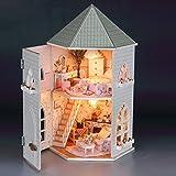 Rylai 3D Puzzles Wood Dollhouse Miniature DIY Kit w/ Light - Love Fort Series Dollhouses House Big Lovely Villa+Led light+Furniture