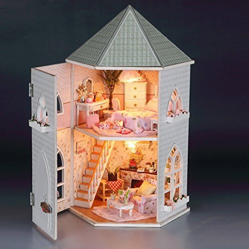 Rylai 3D Puzzles Wooden Handmade Miniature Dollhouse DIY Kit w/ Light -Love Fort Series Dollhouses Accessories Dolls Houses with Furniture & LED & Music Box Best Birthday Gift for Women and Girls]()