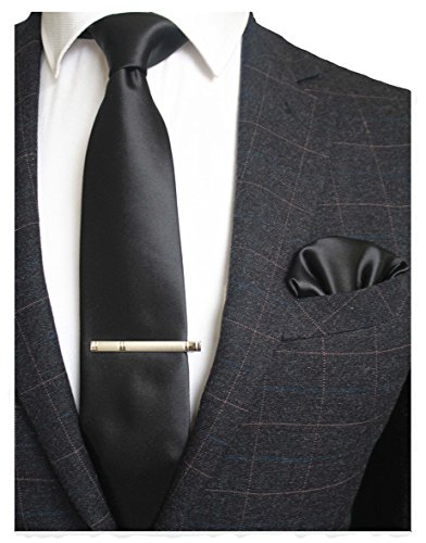 JEMYGINS Mens Formal Black Neck tie and Pocket Square, Hankerchief and Tie Bar Clip Sets (2)