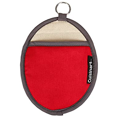 Cuisinart Oval Pot Holder/Oven Mitt w/ Pocket & Heat Resistant Non-Slip Silicone Grip, Red