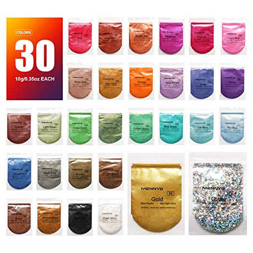 Mica Powder Epoxy Resin Dye - 29 Powdered Color Pigments + 1 Glitter (300G/10.6OZ) - for Soap Slime Bath Bombs Makeup Colorant