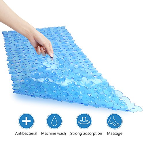 Grilldom Non Slip BathTub Mat, Extra Long Shower Mat with Anti Slip Suction Cups, Premium Mildew Resistant Pebbles, Antibacterial Machine Washable (Blue: Rectangle 16