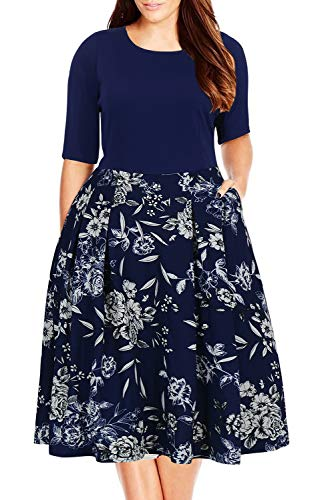 Nemidor Women's Floral Print Vintage Style Plus Size Swing Casual Party Dress (24W, Navy+White)