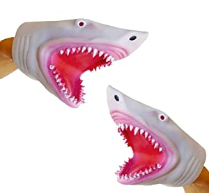 Soft Silicone Great White Megalodon Jaws Shark Hand Puppet 2 Pack