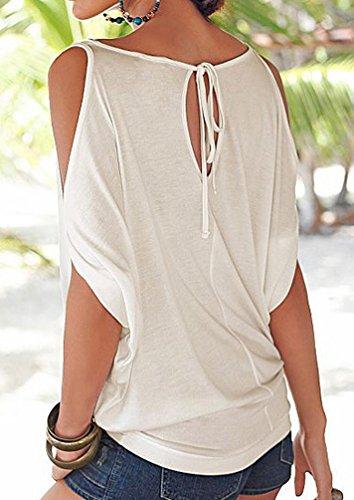 ISSHE Rundhals T Shirt Schulterfrei Damen Sommer Lockere T Shirts Kurzarm  Frauen Oversize Shirt Tops Schöne ... 9e391abc97