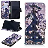 for Samsung Galaxy A8 2018 Wallet Case and Screen Protector,QFFUN Glitter 3D Pattern Design [Purple Peacock] Magnetic Stand Leather Phone Case with Card Holder Drop Protection Etui Bumper Flip Cover