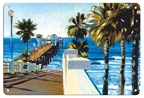 Pacifica Island Art 8in x 12in Vintage Tin Sign - Oceanside Pier, California by Wade Koniakowsky