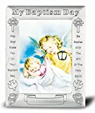 Angel with Lantern Baptismal Antique Pewter Photo Frame 5.5'' x 7'' Overall Size (Boxed)