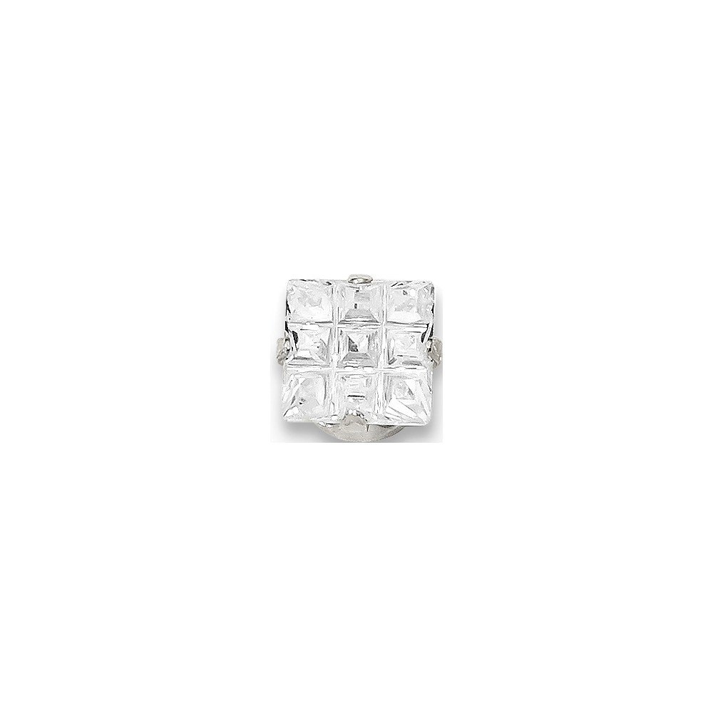 Solid 925 Sterling Silver 6mm Square CZ Cubic Zirconia 4 Prong Stud Earrings