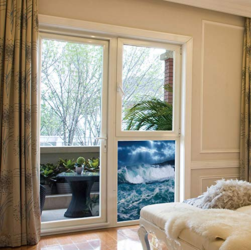 ALUON Frosted Window Film Stained Glass Window Film,Ocean Decor,Work Well in The Bathroom,Huge Nasty Sea Waves in a Stormy Day,17''x24'' -