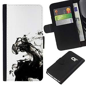 KLONGSHOP // Tirón de la caja Cartera de cuero con ranuras para tarjetas - Tinta blanca limpia minimalista Agua - Samsung Galaxy S6 EDGE //