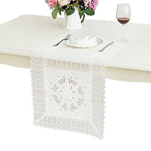 36' Table Runner (Just-Enjoy Lace Queenie White Embroidered Hollow Out Cutwork Table Runner(1, 16X36''))