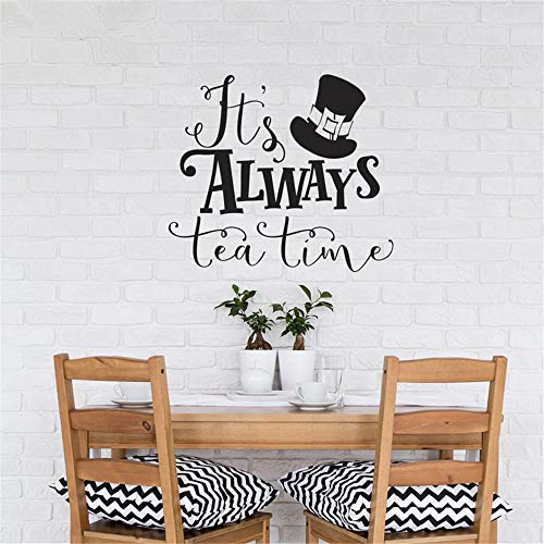 Alice in Wonderland Wall Decal Quotes It's Always Tea Time Vinyl Wall Sticker for Kids Rooms Mad Hatter Top Hat Pattern DIY
