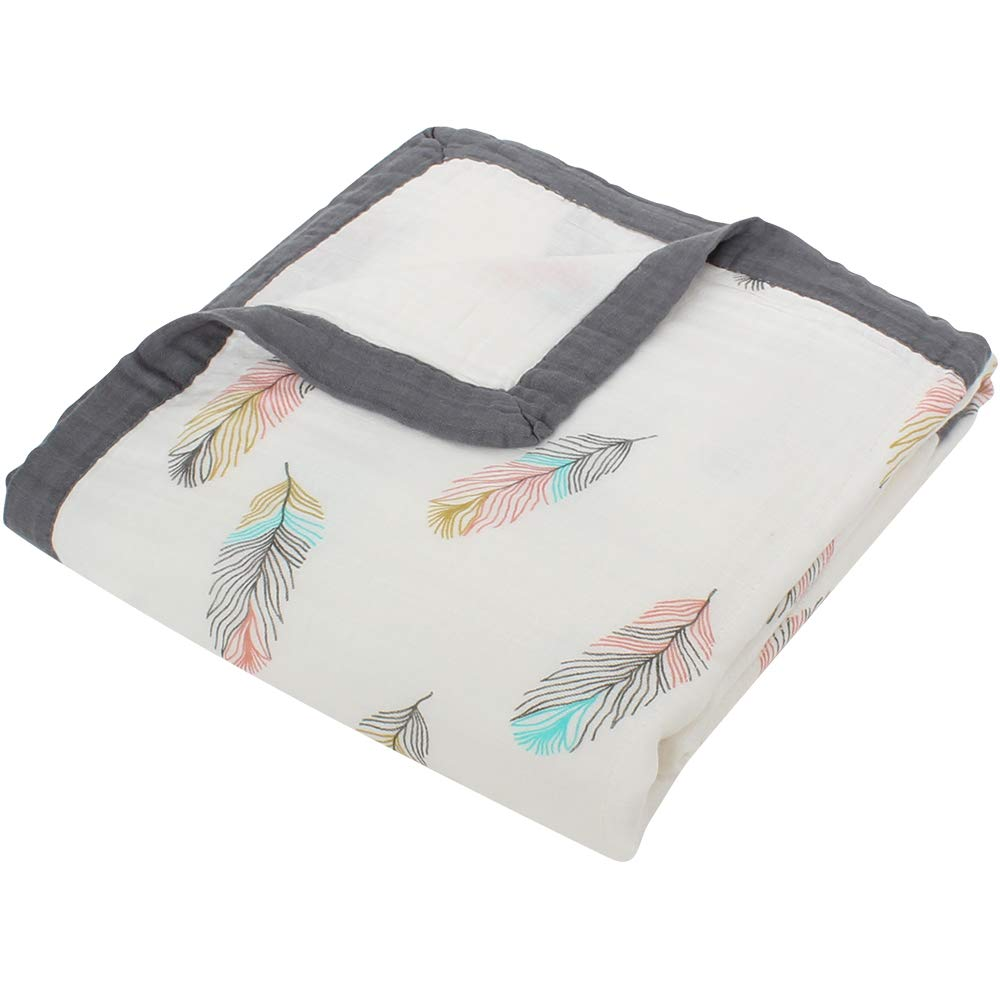 LifeTree Baby Muslin Blanket,''Feather Print'' 2 Layer Toddler Blanket for Baby Girls or Baby Boys, Lightweight Crib Blankets/Stroller Blankets by LifeTree