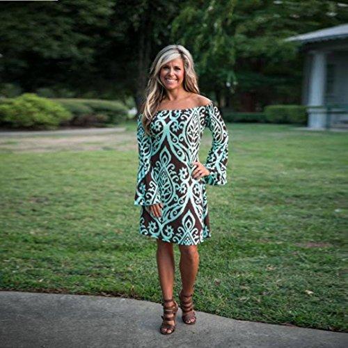 Feixiang d't Robe Robe Manches Courtes Haute Robe Sexy Courtes Vert Femmes Taille Boho Dress Manches gqgHr