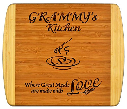 """Grammy Gift ~ """"Grammy's Kitchen Where Great Meals are made with Love"""" 2-Tone Bamboo Cutting Board w/Heart Middle Grandma Christmas Birthday Mothers Day Engraved Side Décor Back Side Usage (11.5"""